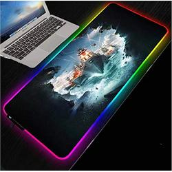 Mouse Pads Nautical Battleship Hd Office Computer Desk Mat Black Lock Edge RGB with LED USB Mouse Pad Rubber Stripes (Size_2) 700X300X4Mm