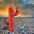 Nivalkid Cactus Sculpture, Mexican Metal Art Metal Cactus Sculpture Garden Yard Sculpture Home Decor Metal Cactus Plants for Outdoor Patio Yard, Garden Figurines, Yard Stakes 11.9""