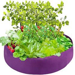 Mokyler Round Raised Garden Bed, Plant Grow Bag Felt Fabric Raised Planting Bed, Purple Raised Garden Planter, Veg Planter Pot Planter Box Garden Grow Planter for Plants (100Gallon)