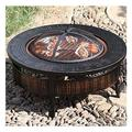 """Outdoor Fire Pit Round Wood-Burning Fire Bowl Grill, with Mesh Spark Sieve Cover, Wrought Iron Cooking Fire Pit, 81cm/31.8"""" (Color : Style 1)"""