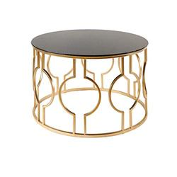 Home Warehouse Nordic Tempering Glass Coffee Table, Creative Living Room Round Sofa Table Iron Art Side Table Corner Table Small Decoration Leisure Reading Table Furniture,Black