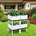 Raised Garden Bed, Set of 4 Planter Box, Raised Garden Bed Planter Container for Indoor Grow Box Outdoor planters, Plastic Elevated Garden Bed, Planter Boxes for Vegetables, Flower Herb Patio (White)
