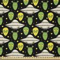 East Urban Home Ambesonne Alien Fabric By The Yard, Sketch Style Portraits Dotted Background Space Crafts Transportation, Size 90.0 H x 72.0 W in