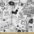 East Urban Home Ambesonne Black & Fabric By The Yard, Punk Teenage Pattern Cassette Keyboard Ghost Heart & Boombox Doodle in White   Wayfair