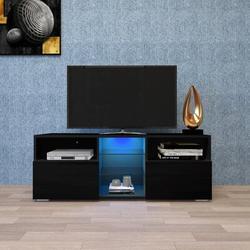 Latitude Run® Modern Minimalist Tv Cabinet Living Room w/ 20 Colors Led Lights,tv Stand Entertainment Center () Modern High-gloss Led Tv Cabinet
