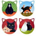 Trinx Set Of 4 Cat Shaped w/ Cats Coasters Ceramic, Size 0.25 H x 0.25 D in | Wayfair FFB30F90C95F4F5D8FB736CF772959D6