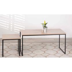 Set de 2 tables basses industrielles rectangulaires avec pieds en métal 100 x 48 x 48 cm et 40 x 40 x 40 cm