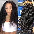 10A Deep Wave Human Hair Bundles (28 28 28 28 Inch) 100% Virgin Brazilian Hair 4 Bundles Wet and Wavy Hair Human Bundles Unprocessed Remy Curly Hair Bundles (28 28 28 28)