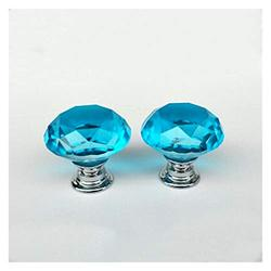 handle Crystal Knobs, 40 mm Diamond Drawer Cabinet Door Pull Crystal Door with Screws for Home Kitchen Office Chest Bin, Dresser(10 Pcs) (Color : Lake Blue)