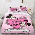 Haonsy Bedding Set 3 Piece Set, Mickey Minnie Mouse Kids Bedding King 1 Duvet Cover & 2 Pillow Shams with Zipper Closure, Cartoon Mickey Minnie Mouse