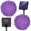 Purple Solar Halloween String Lights - 400 LED 2Pack 72ft Solar Powered Mini Purple Lights Outside Waterproof Lights String Outdoor with 8 Light Modes for Garden Party Patio Tree Halloween Decoration