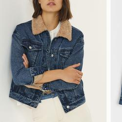Anthropologie Jackets & Coats | Anthro Pilcro Sherpa Trimmed Denim Jacket | Color: Blue | Size: M