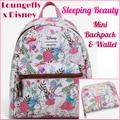 Disney Bags | Loungefly Disney Sleeping Beauty Mini Backpack Set | Color: Pink/White | Size: 2 Pc. Set