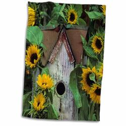 East Urban Home USA Pennsylvania Birdhouse & Garden Sunflowers Hand Towel Microfiber/Terry/Cotton in Gray/Green/Yellow, Size 22.0 H x 15.0 W in