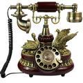WFZCP Retro Style Phone Fixed Phone, Phone, Retro Vintage Antique Style Phone, Rotational Dial, Retro Vintage Antique Style Phone, Living Room Interior Home Desk Decor Ornament