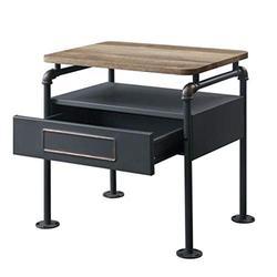 Drawers Nightstand, Nightstand in Antique Oak & Sandy Graysuitable for Bedroom, Suitable for Bedside Storage