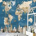 Wallpaper Mural Blue 3D Map Mural Peel & Stick Wall Decal Wall Art Child Gift for Kid Room Nursery Bedroom Wall Home Decor Poster Mural Wallpaper-200X140cm
