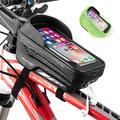 MOKFIRE Bike Phone Bag Bicycle Pouch Bike Phone Holder Bags Waterproof Bike Phone Mount Bag Cycling Front Frame Bag Top Tube Bike Bag Cell Phone Case Compatible with iPhone 11 12 Pro Max (Black)