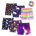 ZukoCert 6 Packs Girls Bike Short Athletic Shorts Colorful Yoga Short Pant Gym Workout Dance Running Shorts(SET1-130)