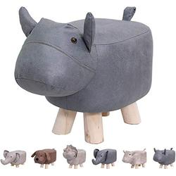 Animal Footstools, Ottomans Padded Cushion Footstool Pouffe Stool Rest Seat Sofa Chair Kids Learning Stool Elephant Bench Shoes Children Cartoon Stool Solid Wood Stool (Blue Cow)