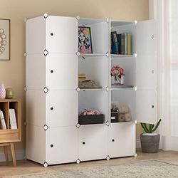 "MAGINELS Large Cube Storage - 14""x18"" Depth (12 Cubes) Organizer Shelves Clothes Dresser Closet Storage Organizer Cabinet Shelving Bookshelf Toy Organizer, White"