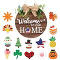 Wooden Seasonal Welcome Door Sign Interchangeable Welcome to Our Home DIY Welcome Sign for Front Door Porch Decor Rustic Wood Sign, Christmas Halloween Independence Day Home Decorations (A)