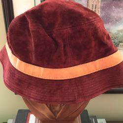 Coach Accessories   Coach Red Suede Bucket Hat - Size Xl   Color: Red/Tan   Size: Xl
