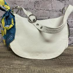 Coach Bags | Coach Womens White Leather Flap Over Hobo | Color: White | Size: Os