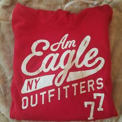 American Eagle Outfitters Tops | Aeo Hooded Sweatshirt Red Size M | Color: Red/White | Size: M