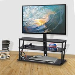 Symple Stuff Universal Tempered Glass Metal Frame Three-Layer Glass TV Stand in Black/Yellow, Size 49.2 H x 44.0 W x 17.0 D in | Wayfair