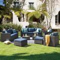 Wade Logan® Seneca 12 Piece Rattan Sectional Seating Group w/ Cushions Wicker/Rattan in Gray/Blue, Size 25.39 H x 33.46 W x 30.7 D in | Wayfair