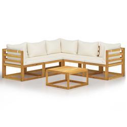 vidaXL 6 Piece Garden Lounge Set with Cushion Cream Solid Acacia Wood