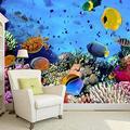 Wallpaper Mural Blue Sea World Mural Peel & Stick Wall Decal Wall Art Child Gift for Kid Room Nursery Bedroom Wall Home Decor Poster Mural Wallpaper-200X140cm
