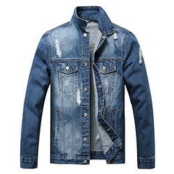 LUCKAMILEE Jean Jacket for Men,Classic Ripped Plus Size Distressed Trucker Big & Tall Denim Jacket (Medium, Navy blue-03)