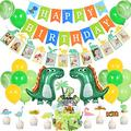60PCS Dinosaur 1st Birthday Party Supplies Kit with Happy Birthday Banner One Year Old Milestone Picture Garland Dinosaur Balloon Cupcake Topper for Baby Jungle Themed Party Baby Shower Decorations
