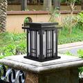Outdoor Garden Lamp Square Metal Column Lamp Waterproof Pedestal Lamp External Park Patio Pathway Walkway Lawn Lamp Garden Patio Bollard Entrance Fence Landscape Lighting for Outdoor Lighting BJY969