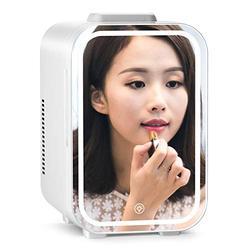 Mini Fridge Noiseless 10L for Cosmetics Skincare Fridge 2 in 1 Noiseless Camping Fridge 12V / 220V Make-Up Mirror Skin Care Fridge with LED Light