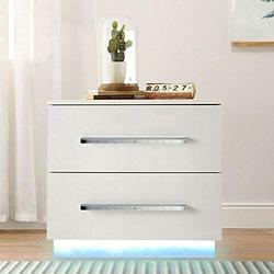 White Nightstand W/Led Lights Modern Bedside End Table with 2 Drawers, Particle Board Material Nightstand with Remote Control for Yellow Color Light, Led Light Night Stand Cabinet