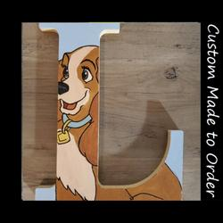 Disney Accents   Hand Painted Disney Lady And The Tramp Letter   Color: Blue/Brown   Size: Os
