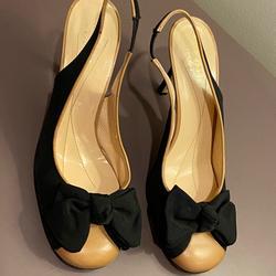Kate Spade Shoes | Kate Spade Tan & Black Bow Tie Slingback Heels 7.5 | Color: Black/Tan | Size: 7.5