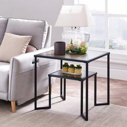 17 Stories Dual Tier Coffee & Tea Small Square End Table,Nightstand,Side Table Beside Table w/ 2-Tier Wood Storage Shelf For Living Room & Office