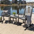 3-Piece Traditional Rocking Chair Outdoor Chat Set with Slatted Square Side Table - Grey Wash - Walker Edison OGWRCST3GW