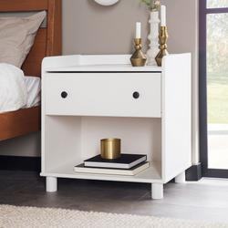 1 Drawer Tray Top Solid Wood Nightstand - White - Walker Edison BRMOR1DNSWH