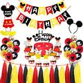 "Mouse Birthday Party Supplies Decorations, Glittery Mickey Happy Birthday Banner Cake Cupcake Topper, Mickey Welcome Sign Door Hanger, Mickey Ears Headband, 12"" Latex Balloons First Two Three Bday"