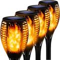 4 Pieces Garden Torches, Solar Lights with Flame Effect for Outside, Solar Torches Flickering, Solar Flame, 12 LED Solar Torches Flame Dancing for Backyards Gardens Lawns