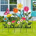 Glitzhome 39.75 Inch Flower Butterfly Garden Stakes Decor Metal Decorative Flowers Garden Stakes Yard Art 5 Pieces Yard Stakes Indoor Outdoor Lawn Garden Patio Backyard Ornaments Yard Sign
