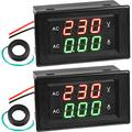 2 Pieces Volt Amp Meter AC 500V 200A Voltmeter AC Voltage and Current Meter Digital Dual Display, 0.39 Inches LED 2 in 1 Multimeter, 2-Wire Voltage Amperage Tester Gauge with Current Transformer