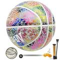 Sunseams Holographic Glowing Reflective Basketball Light up Basketball Glow in The Dark Basketball Luminous Basket Ball for Night Game Size 7 Official Size and Weight (Colourful)