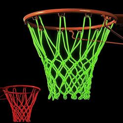 LONYKIBEE Basketball Nets Plastic Glow in The Dark Basketball Net Replacement 2PCS Outdoor Light Up Basketball Hoop Net Nightlight Glow Basketball Goal Net for Night Basketball Training