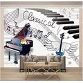 Wallpaper Mural Music Piano Mural Peel & Stick Wall Decal Wall Art Child Gift for Kid Room Nursery Bedroom Wall Home Decor Poster Mural Wallpaper-200X140cm